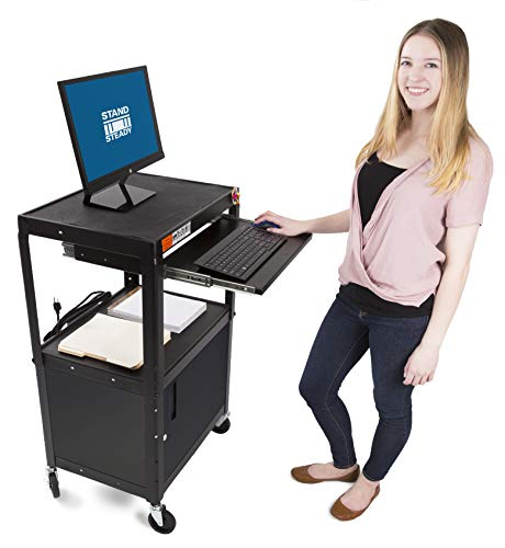 Line Leader AV Cart & Locking Cabinet - Includes Pullout Keyboard Tray, Easy Locking Wheels and Cord Management! Great for School & Office (42x24x18) (AV Cart + Cabinet - -