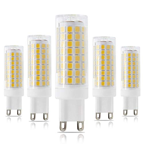All-New G9 LED Bulb, Dimmable G9 Bi-Pin Base Bulbs, 75W 80W Equivalent, 120V 7.5W, 102X2835SMD 360 Degree Indoor Lighting (G9 Warm White 3000K)