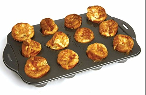 Sunnyfly 3971 Nonstick Linking Popover Muffin Pastry Biscuit Roll Pan 12 Mini Cup