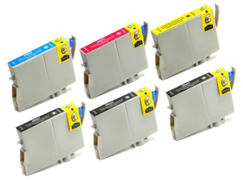 6 Pack Remanufactured Inkjet Cartridges for Epson T060 #60 T060120 T060220 T060320 T060420 Compatible With Epson Stylus C68, Stylus C88, Stylus C88Plus, Stylus CX3800, Stylus CX3810, Stylus CX4200, Stylus CX4800, Stylus CX5800F, Stylus CX7800 (3 Black, 1