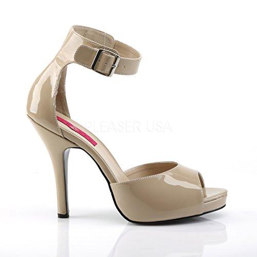 Higher Heels Pleaser Pink Label Womens Big Size Sandals Sandals Eve-02 Cream Patent cream patent Wwea0IHmN