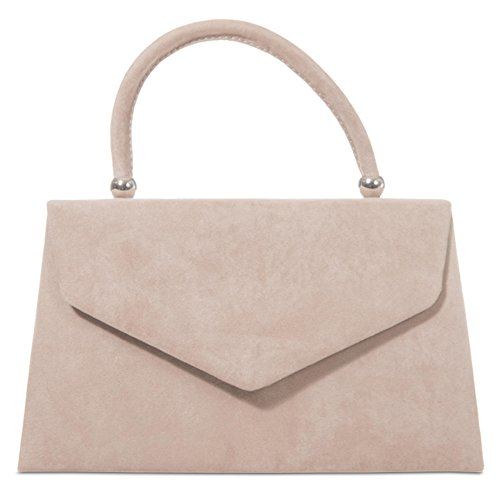 Beige Grab Bag, Faux Suede Nude Coloured Evening Bag, Clutch Bag, Small Envelope Top Handle Handbag, Ladies Light Brown Taupe Bag
