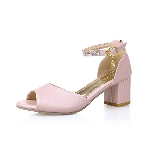 AllhqFashion Womens Solid Open Toe Kitten Heels Soft Material Buckle Sandals Pink