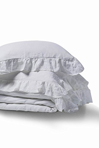 meadow park Stone Washed French Linen Duvet Cover Set 3 Pieces - Super Soft, King Size 104 inches x 94 inches, Shams 20 inches x 36 inches, Ruffled Style - Button Closure - Corner Ties, White (Linen Bedding Sets Belgian)