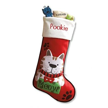 amazon com lillian vernon personalized pet cat fabric stockings