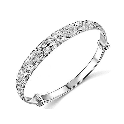 3 Polished Bangle Bracelets (Willsa Fashion Women 925 Sterling Silver Plated Jewelry Charming Bangle Bracelet)