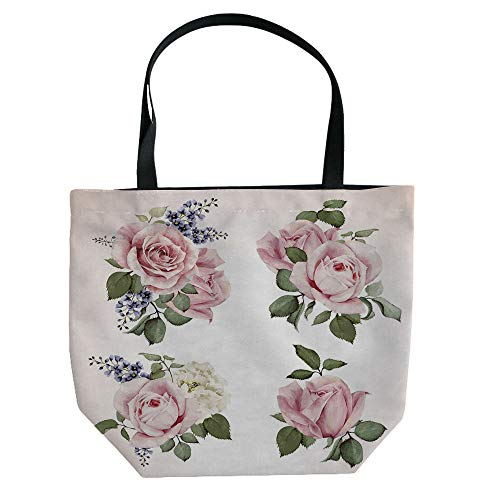 (iPrint Hand Canvas Bag Shoulder Bag,Rose,Sweet Fresh Garden Scenic Seasonal Yard Vegetation Flourish Anniversary Celebration Decorative,Pale Pink,3D Print Design.)