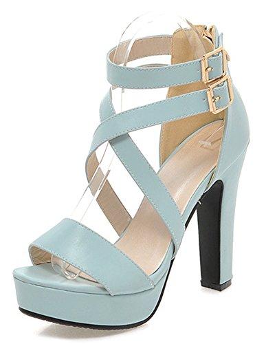 Bleu Sandales Mode Femme Ouvert Talon Bout Aisun Bloc q0wOwT