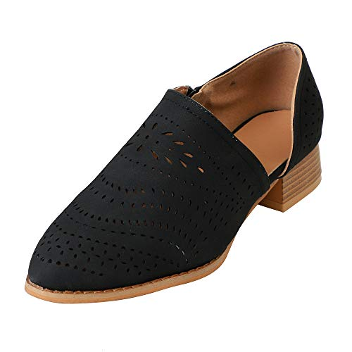 Kauneus Womens Casual Loafers Slip on Ankle Leather Boots Cut Out Office Flat Shoes ()