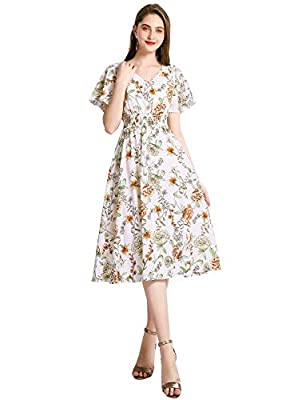 Gardenwed Floral Print Chiffon Summer Dresses for Women Flowy Midi Sundress Bohemian Beach Party Dress