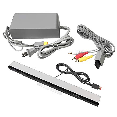 Accessory Kit Wii (Jadebones Wii U Accessory Kit - AC Power Adapter, Composite AV Cable, and Wired Motion Sensor Bar for Nintendo Wii U)