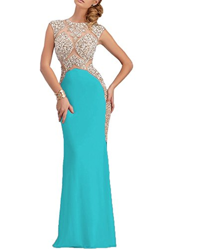 Olivia's Sparkly Crystal Illusion Top Turquoise Mermaid Evening Gowns 2016 Prom Dress