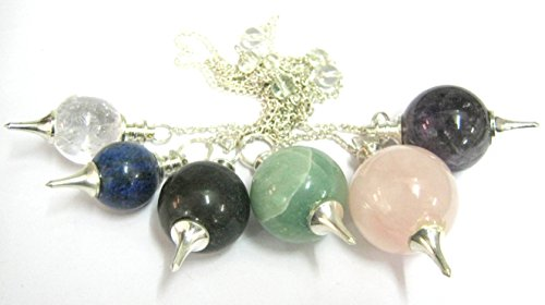 CRYSTALMIRACLE SET OF FIVE QUARTZ/AMETHYST/TOURMALINE/ROSE QUARTZ/LAPIS LAZULI SPHERE PENDULUMS CRYSTAL HEALING ENERGY REIKI FENG SHUI WICCA DOWSING PROTECTIVE METAPHYSICAL GEMSTONE GIFT by CRYSTALMIRACLE