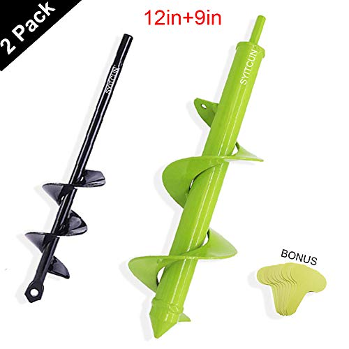 SYITCUN Auger Drill Bit Backyard 2 Pack Plant Flower Bulb Auger Spiral Gap Drill Fast Planter Earth Auger Bit Put up or Umbrella Gap Digger for 3/8″ Hex Drive Drill1.6x9in & 3x12in & 10 Labels
