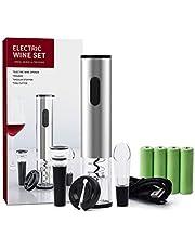 Elektrische wijnopener-set, automatische kurkentrekker van roestvrij staal met foliesnijder, schenktuit, vacuümsluiting, oplaadbaar USB-cadeau voor wijnliefhebbers (stijl 1)