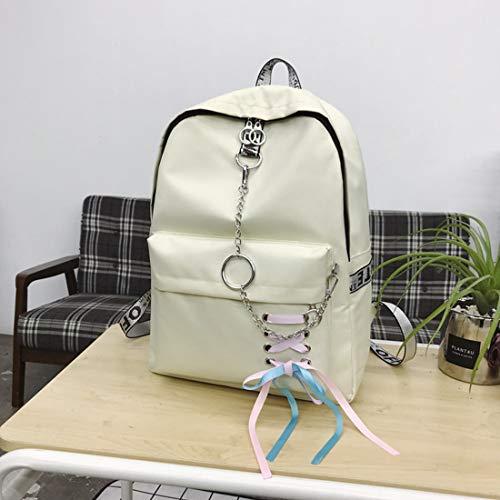 di bianco 2 Fashion Zackback Pendolare Chain 2 Zaino rosso grande capacità leggero scuola superiore Ribbon Felicioo® Studente grande di zwfxBHHq