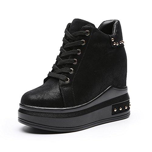 GTVERNH-El Aumento En Otoño - Invierno Todo El Partido Nuevo Zapatos Femeninos 11Cm Zapatos Cuñas Zapatos De Plataforma Gruesa Invierno Mujer Fondo Con Cashmere black
