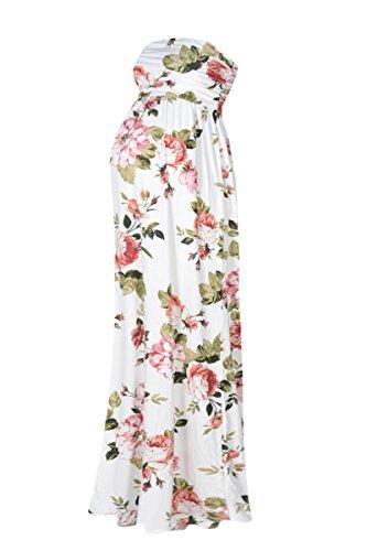 Beachcoco Women's Maternity Comfortable Maxi Tube Dress (M, Multi 10 Ivory)