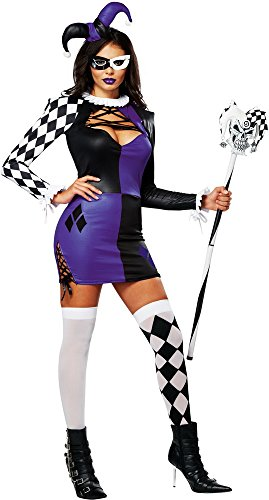 California Costumes Women's Naughty Jester Sexy Mardi Gras Carnival Costume, Purple/Black, Large
