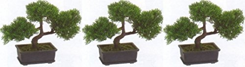 3 Artificial 9'' Tea Leaf Bonsai Tree Topiary In Outdoor Plant Pool Patio Home by Black Decor Home