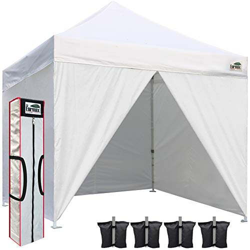 Eurmax 10 X 10 Commercial Instant Gazebo Ez Pop up Canopy with 4 Removable Sidewalls and Carry Bag For Sale