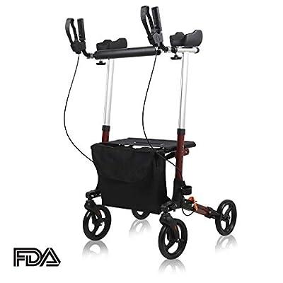 "Upright Walker, Give Me Stand Up Rollator Walker Upwalker with Seat&Bag, 8"" Wheels, Padded Armrests for Seniors and Adult (Red)"