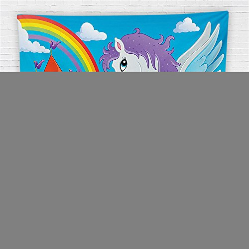 59 x 59 Inches Kids Decor Fleece Throw Blanket Fantasy Myth Unicorn with Rainbow and Medieval Castle Fairy Tale Cartoon Design Blanket Multicolor