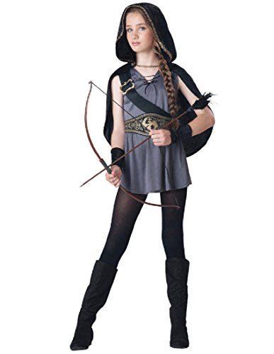 InCharacter Costumes Tween Kids Hooded Huntress Costume, Grey/Black, S (8-10) (2)