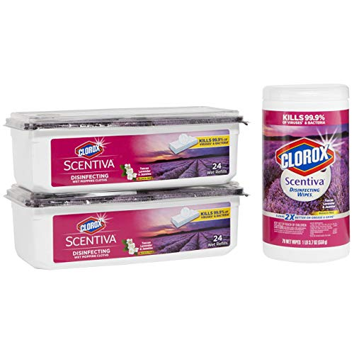 Clorox Scentiva Disinfecting Wet Mopping Pads Plus Scentiva Disinfesting Wipes Value Pack, Tuscan Lavender & Jasmine