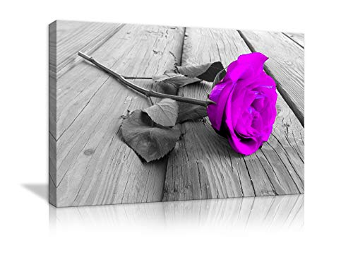 (AMEMNY Purple Rose Floral Black White Flower on Grey Wooden Board Canvas Wall Art Pictures Prints Artwork Modern Paintings Wall Art Home Decoration Framed Ready to Hang (28''Hx44''W, Purple Rose))