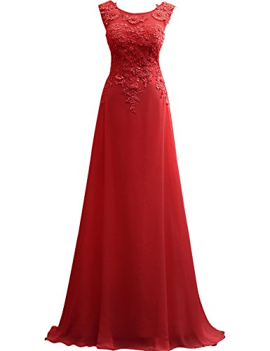 JAEDEN Appliques Dress Dress Sleeveless Party Prom Red Long Lace Chiffon Evening rXHrqT
