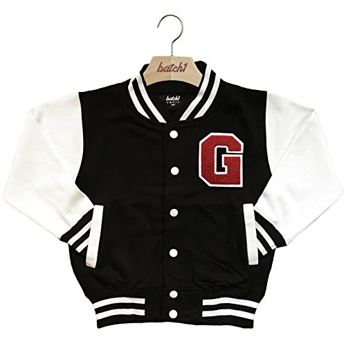 Batch1 Kids Varsity Baseball Jacket Personalised With Genuine Us College Letter G (9-11 Years, -
