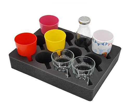 41G9T YGbmL SCHAUMEX ® Premium Model 2020 - Tassenhalter Glashalter Gläserhalter Becherhalter - Platz für 12 Stück - Schaumstoff für…