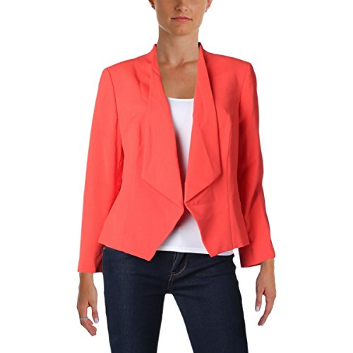 Nine West Women's Solid Kiss Front Jacket, Tangerine, 14 by Nine West