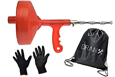 Drum Auger Plumbing Snake - 25-FT Flexible Steel Drain Snake Cable with Work Gloves and Storage Bag | Hair Removal and Drain Unclogger Tool for Kitchen and Bathroom Sinks, Bathtub and Shower Drains