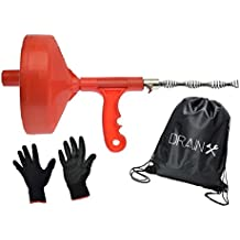 Plumbing Snake Drain Auger | 25-Ft Drain Snake Cable with Work Gloves and Storage Bag