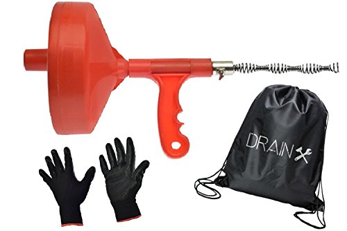 Plumbing Snake Drain Auger | 25-Ft Drain Snake Cable with Work Gloves and Storage Bag by DrainX