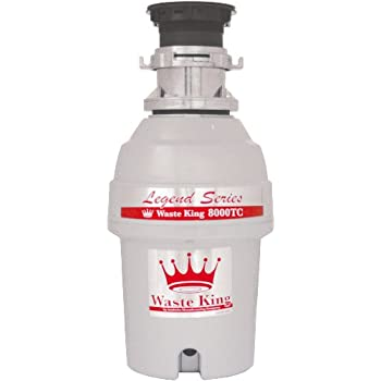 Waste King Legend Series 1 HP Batch Feed Garbage Disposal with Power Cord - (L-8000TC)