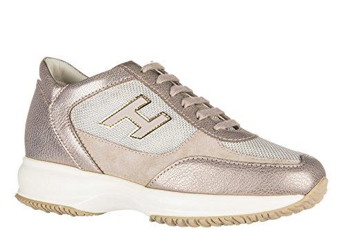 Hogan chaussures baskets sneakers femme en cuir interactive h flock or
