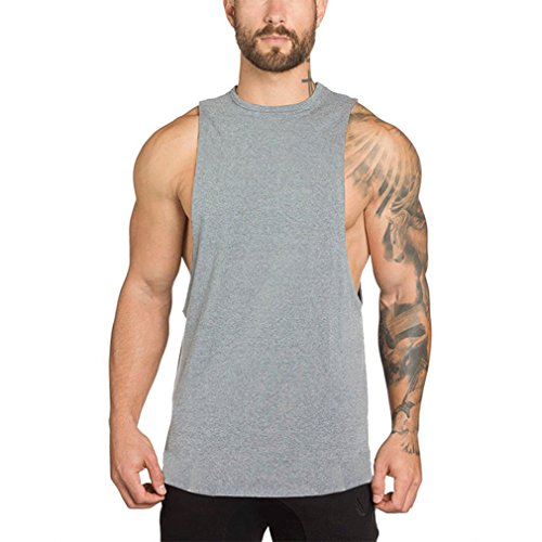 SOURBAN Men Gyms Cotton Sleeveless Tee Muscle Bodybuilding Top Fitness Singlet T-shirt for Boy Vest