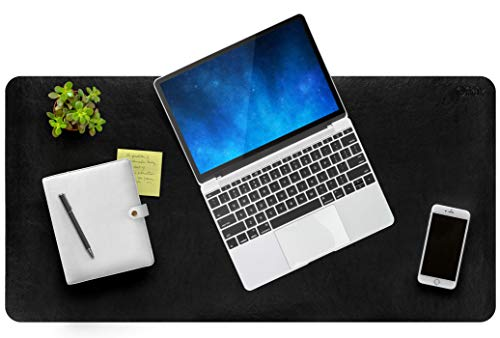 Premium Leather Desk Pad Perfect for Protecting Desk Surfaces. Use for Smooth Writing or Mouse Pad. Desk Blotter for Home & Office with Non Slip Backing - Desk mat with Comfy Wrist Support - 34x17in