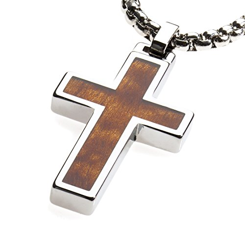 GESTALT COUTURE Unique Tungsten Cross Pendant .4mm wide Surgical Stainless Steel Box Chain. Wood Inlay.