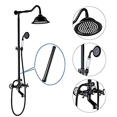 Shower System Oil Rubbed Bronze 8 Inch Rainfall Shower Head 12 Inch Extension Tube Included Double Cross Handle Shower Faucet Set Combo With Handheld Sprayer Mixer Bathtub Tap and Brass Wall Mount