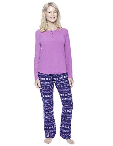 (Noble Mount Women's Cotton Flannel/Thermal Lounge Set - Nordic Snowflakes Blue - X-Large)