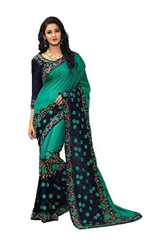 Indian Sarees For Women Partywear Ethnic Traditional Green Sari by Indianfashion Store