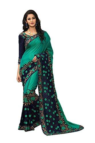 Sari Della Donne Indiani Stilista Sari Per Partywear Facioun Le Etnica Verde Da Tradizionale 1pOqv7wZW