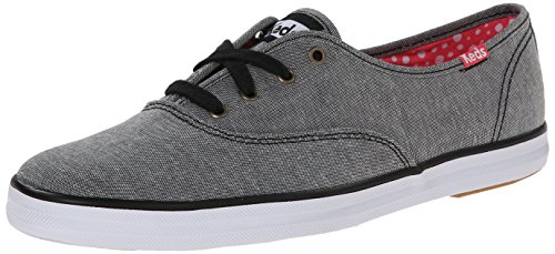 Keds Women's Champion Chambray Fashion Sneaker, Black, 7.5 M