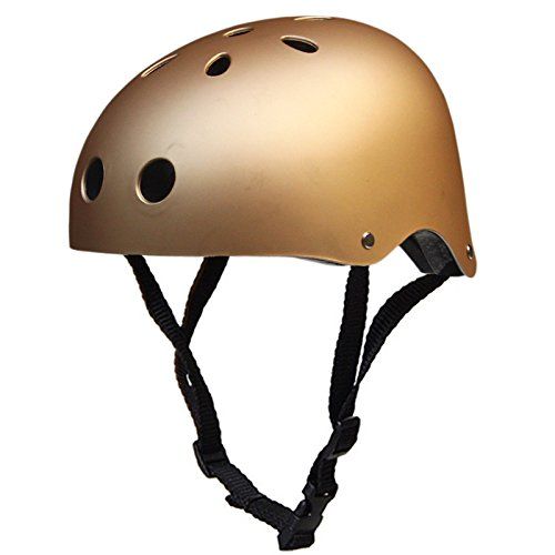 Leoie Round Mountain Bike Helmet Sport Accessories Strong Road MTB Bicycle Helmet Frosted Gold L Suitable for Head Circumference 57-60CM