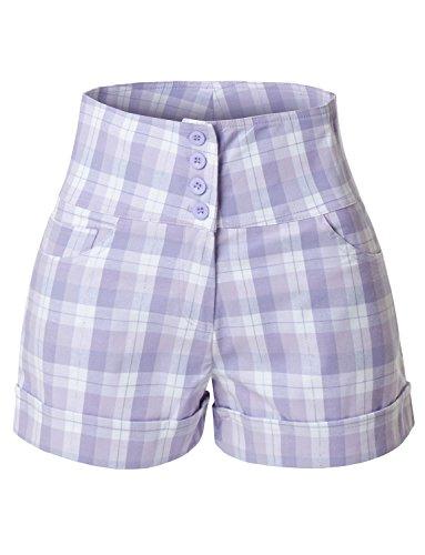 494b6c592a2 RK RUBY KARAT Womens Stretchy High Waisted Button Sailor Nautical Shorts