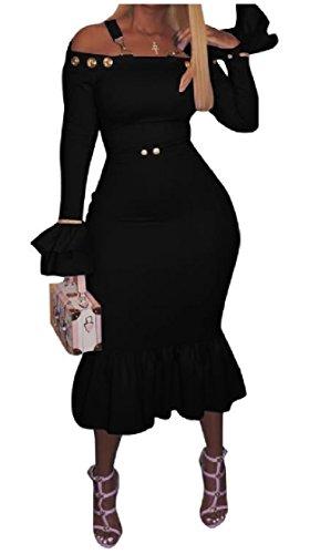 Nero Accogliente Solido Dimensioni Svasata Increspato Di Metà spalla Vestito Off Coolred Magro Manica Elegante Grandi donne Sexy afxwqgUpv4